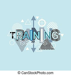 Training Word Creative Graphic Design Modern Business Concept Over Abstract Geometric Shapes Background