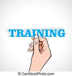 training word sticker in hand
