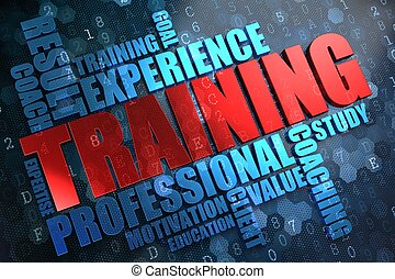 Training - Wordcloud Concept. The Word in Red Color, Surrounded by a Cloud of Blue Words.