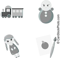 Train.kukla, picture.Toys set collection icons in monochrome style vector symbol stock illustration web.