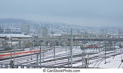 Trains and railway tracks in Zurich