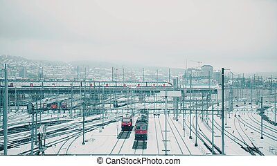 Trains and railway tracks in snow. Zurich, Switzerland