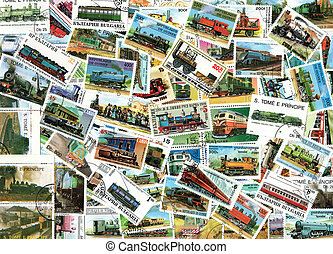 Trains and steam engines - background of postage stamps