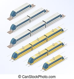 Trains and Trams Isometric Set. Modern Urban Passenger Transportation