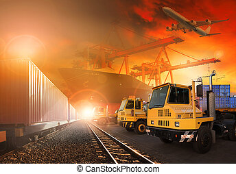 trains and truck of land logistic and ship in port cargo plane flying above use for all shipping and delivery logistic background