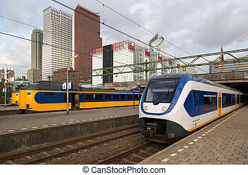 Trains at the central station of The Hague, Dutch...