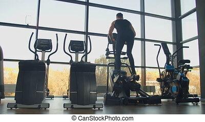 trains, cardio, gymnase, vue, entraîneur elliptique, homme, secteur, dos