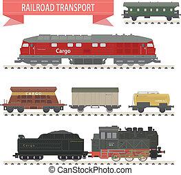 trains., conjunto, ferrocarril
