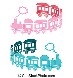 Trains - Couple of pink and blue trains on a white...