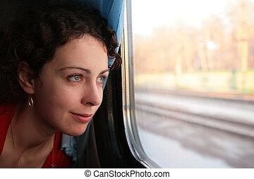 train`s, femme, fenêtre, jeune, regarde