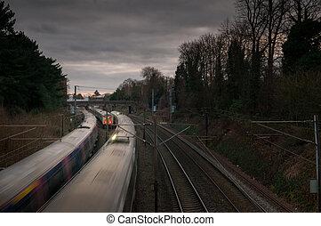 trains on a railway track