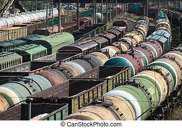 Trains Railroad Junction - train station jammed wagons
