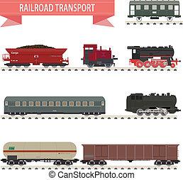 trains., sæt, jernbane