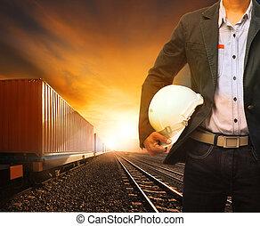 trainst, alkalmaz, vidék, konténer, ügy, dolgozó, útvonal,...