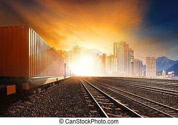 trainst, beau, usage, ensemble, récipient, business, piste, soleil, industrie, chemins fer, contre, courant, terre, logistique, transport, ciel