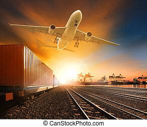 trainst, récipient cargaison, piste, industrie, voler,...