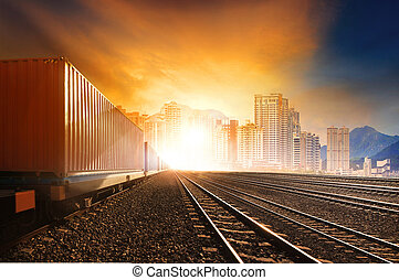 trainst, smukke, anvendelse, sæt, beholder, firma, banen, sol, industri, jernbaner, imod, løb, land, logistic, transport, himmel