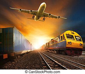 trainst, teherárú tároló, útvonal, iparág, vasutak, futás, repülőgép, rakomány