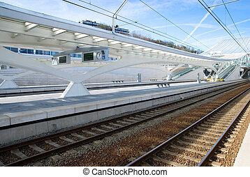 Trainstation in Liege - Guillemins train station in Liege, ...
