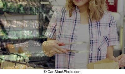 traitement, achats, femme, données, magasin épicerie, marché...