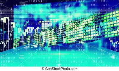 traitement, bleu, données, marché, fond, stockage, contre