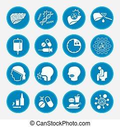 traitement, cause, foie, cancer, icônes