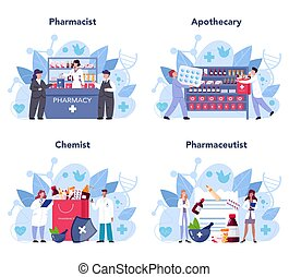 traitement, concept., concept, pharmacien, set., santé, ...