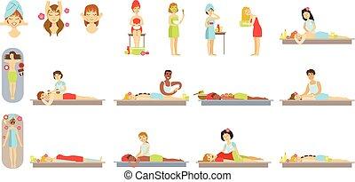traitement corps, peau, spa, réception, femmes