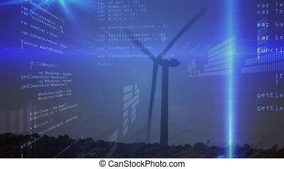 traitement, données, aérogénérateur, animation, sur
