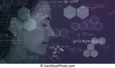 traitement, données, arrière-plan., animation, caucasien, ...
