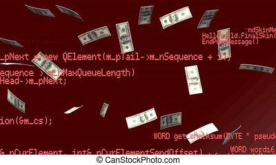traitement, données, dollars américains, flotter, contre