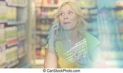 traitement, données, femme, magasin, épicerie, financier, ...