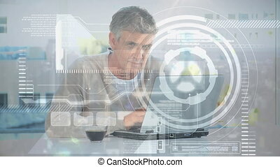 traitement, données, fonctionnement, animation, maison, ...