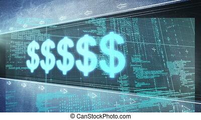 traitement, données, symboles, fond, contre, monnaie