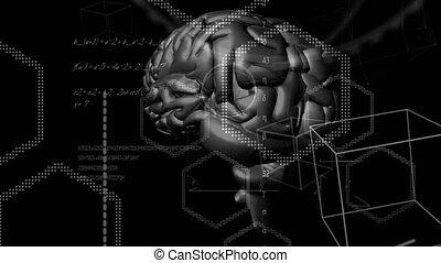 traitement, données, technologie, animation, cerveau