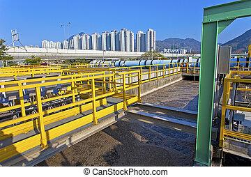 traitement eau, réservoir, à, gaspillage, eau, à, aération, processus