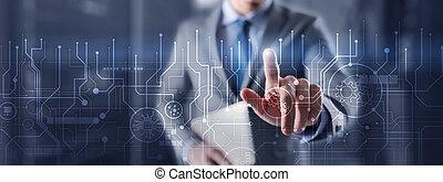 traitement, ingénierie, arrière-plan., circuit électronique, concept., technologie, futuriste, résumé, communication