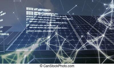 traitement, panneaux, réseau, solaire, données, animation, ...