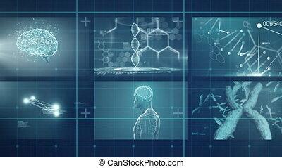 traitement, réseau, données, monde médical, grille, contre