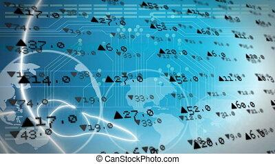 traitement, rotation, données, marché, globe, stockage, contre