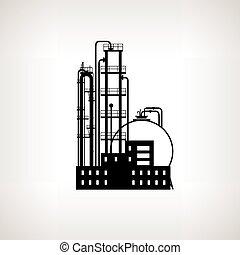 traitement, vecteur, silhouette, plante, raffinerie, chimique, ou, illustration