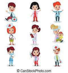 traiter, mignon, peu, gosses, docteur, ensemble, filles, examiner, leur, malades, vecteur, illustrations, professionnel, habillement, jouer, garçons