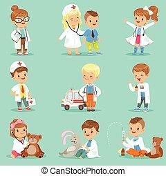 traiter, mignon, peu, gosses, docteur, habillé, set., examiner, leur, malades, vecteur, filles, médecins, illustrations, sourire, jouer, garçons