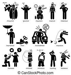 traits, caractère, négatif
