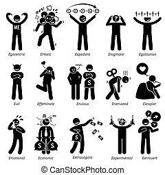 traits, neutre, caractère, négatif
