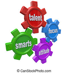 Traits of a successful person written on colorful gears -...
