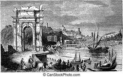 trajan, 古い, illustration., 1890, 型, italy., 現場, ancona, アーチ