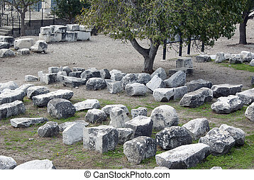 trajan, 壁, 小片, 寺院, 台無しにされる