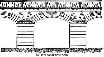 Trajan's Bridge on the Danube, vintage engraving. - Trajan's...
