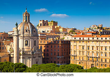Rome, Italy - Trajan's Column and the Church of the Most...
